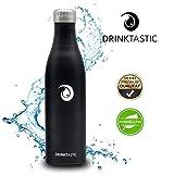 Drinktastic - Doppelwandig Vakuum Isolierte Trinkflasche aus hochwertigem 18/8 Edelstahl, 24h Kalt & 12h Heiß - 750ml - Perfekt für den Freizeit, Camping, Fitness und Outdoorbereich
