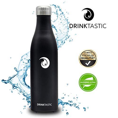 Drinktastic - Doppelwandig Vakuum Isolierte Trinkflasche aus hochwertigem 18/8 Edelstahl, 24h Kalt & 12h Heiß - 750ml - Perfekt für den Freizeit, Camping, Fitness und Outdoorbereich -
