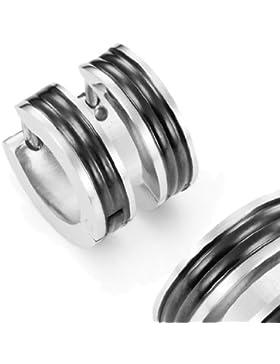Herren Huggie Ohrringe in Edelstahl Schwarz Reifen Design 10mm (Mit Marken Geschenkschachtel)