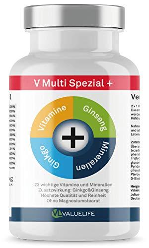 V Multi Special+: multivitamínico y multimineral + Ginkgo Biloba + Ginseng! 22 vitaminas&minerales en un solo producto para la fórmula óptima para el cuerpo y la mente: Ginseng - Ginkgo Biloba VitaminC- vitaminas VitaminB1- VitaminB2- VitaminB3- Panthotensäure- VitaminB6- VitaminB9- VitaminK1- VitaminD3- biotina VitaminA- calcio magnesio y potasio hierro zinc yoduro de cobre manganeso de cromo molibdeno! Incl. 30 cápsulas de forma gratuita
