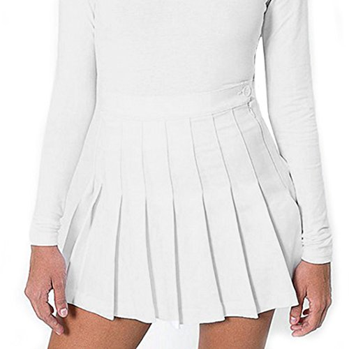 Tennis Mädchen Kostüm - Damen Faltenrock Hohe Taille Mini Rock Basic Rock Volltonfarbe Tennis Röcke Retro Skater Rock XS-XL