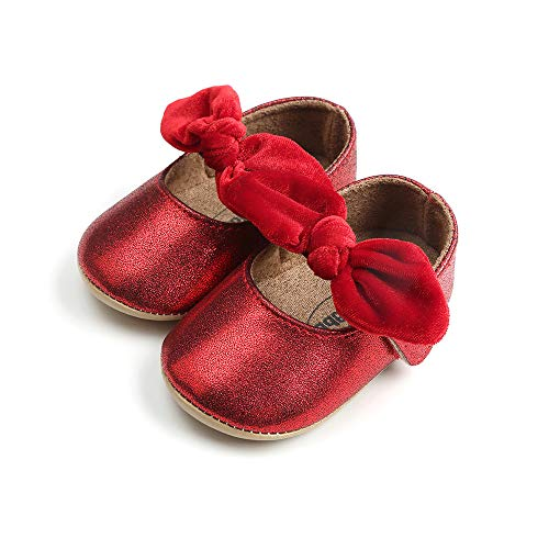 Baby Girl Beautiful Sequins Bowknot Soft Leather Baby Shoes with Leather Soles-Toddler Shoes-Infant Shoes-Pre Walker Shoes-Crib Shoes+1PC Hairband Toddler