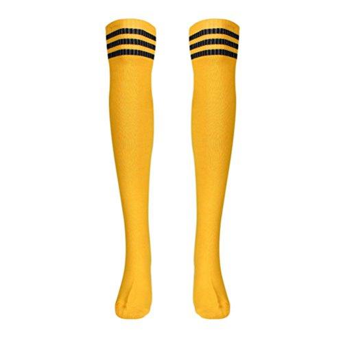 Hunpta 1 Paar Oberschenkel hohe Socken über Knie Mädchen Fußball Socken (Gelb) (Oberschenkel Knie Socken Hohe Hoch)