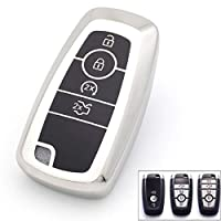 ‏‪Royalfox(TM) 3 4 5 Buttons TPU Full Protected Smart keyless Entry Remote Key Fob case Cover for 2017 2018 2019 2020 Ford Mustang Explorer Edge Fusion Mondeo F150 F250 F350 F450 F550 (Silver)‬‏