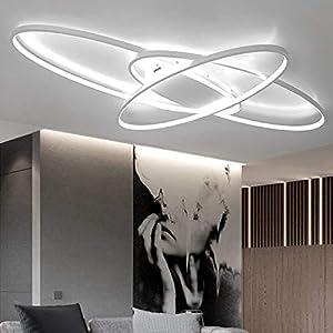Modern LED Deckenleuchte Wohnzimmerlampe Minimalistisches Oval Decke Stufenloses Dimmen Deckenlampe Schlafzimmerlampe Mit Fernbedienung Acryl Lampenschirm Design Lampe Für Esszimmerlampe