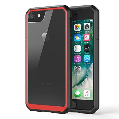 MoKo Hülle für iPhone 8 / 7 - [Kristall Durchsichtig Serie] Ultra Slim TPU + PC Handyhülle Crystal Clear Phone Bumper Case Schutzhülle Schale für Apple iPhone 8 2017 / iPhone 7, Schwarz/Rot Schwarz+Rot