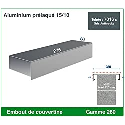 EMBOUT DE COUVERTINE ALUMINIUM (GAMME 280, RAL 7016 SATINE GRIS ANTHRACITE)