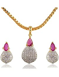 SKN Silver And Golden American Diamond Alloy Pendant Set With Box Chain For Women & Girls (SKN-1150)