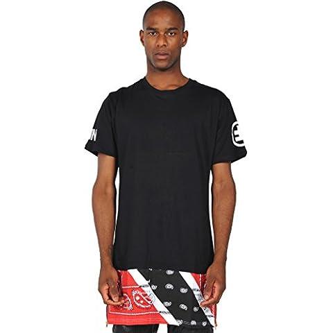 Pizoff T-shirt lunga con inserto in tessuto e zip Paisley