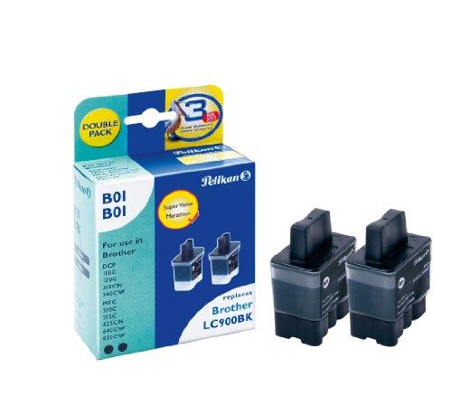 Preisvergleich Produktbild Pelikan Druckpatronen DoppelPack B01B01 ersetzt Brother LC900BK, 2x Schwarz