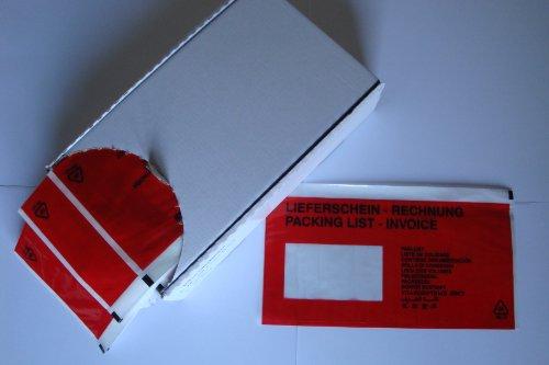 """250 Dokumententaschen DIN lang \""""Lieferschein/Rechnung\"""" 13-sprachig Gr. 240x115+15mm in der Spendebox"""