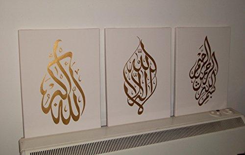 Arabische Kalligraphie Islamische handgefertigt Bilder Wand Kunst Öl Gemälde auf Leinwand 3PCS für Wohnzimmer Home Dekorationen Holz gerahmt Beige Gold