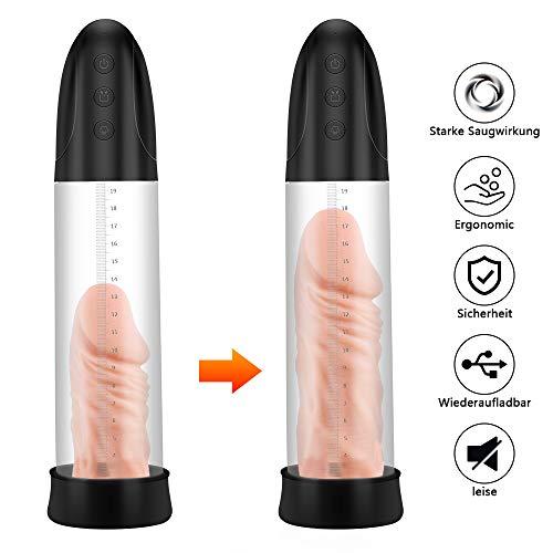 VICIVIYA Penispumpe, Penimaster Pumpe Elektrisch, Masturbator Sexspielzeug für Männer Penis Erektion Penis-Vergrößerung Penis Stimulation mit 2 Penisring USB-Lade, Schwarz