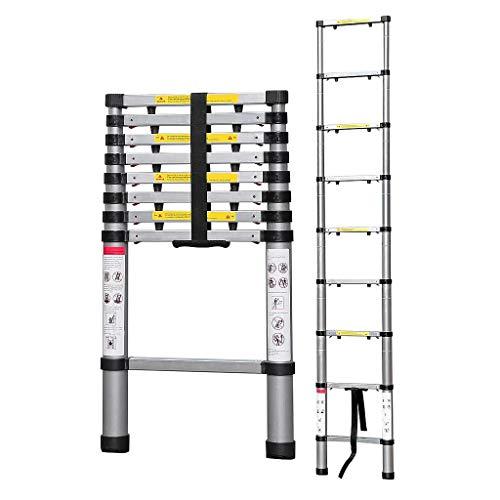 Todeco - Escalera Telescópica, Escalera Plegable - Carga máxima: 150 kg - Número de peldaños: 9-2,6...