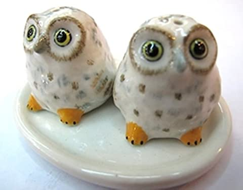 Dollhouse Miniatures Ceramic Salt&Pepper Owl White/Yellow FIGURINE Animals (American Heart Baby T-shirt)
