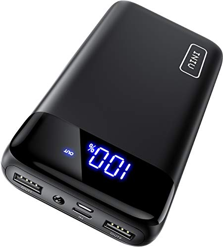 INIU Powerbank 20000mAh, Externer Akku mit LED Display, Eingänge mit USB C + Micro USB, Ausgängen mit Dualer 3A Schnellladung, Tragbares Ladegerät für iPhone Samsung iPad Tablet Smartphone