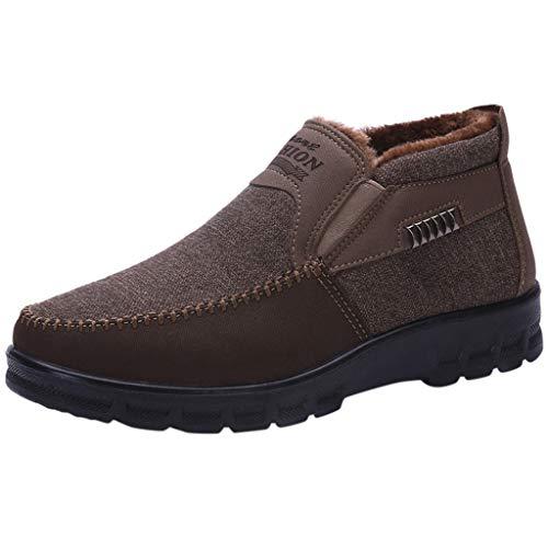 MISSQQStivali Invernali da Uomo Caldi Foderato Pelliccia Classic Boots Scarponi da Neve in Pelle Scamosciata Scarpe da Casa Pantofole Unisex