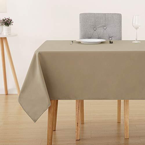 Deconovo Tischdecke Wasserabweisend Tischwäsche Lotuseffekt Tischtuch 130x160 cm Taupe