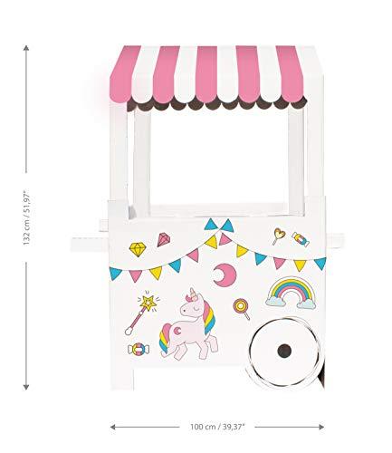 Mery & Lola Party Deco Candy BAR - Wagen CHUCHERIAS - Einhorn, Messungen XL 132x 100 x 59 cm - Candy CART KARTON