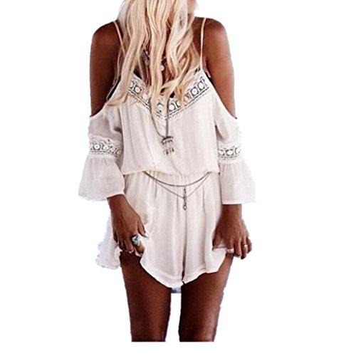 LSAltd Damen jumpsuit, 1PC Frau Häkelarbeithaken Bügelhemd Sommer Badehose Hosen Overalls (Weiß, XL) (Lace Georgette Bluse)