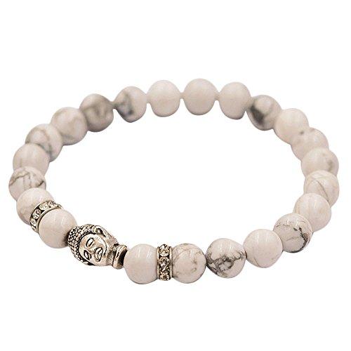 Armband Silber Buddha elastische Perlen Tibet Charm Armbänder mit Lavastein, Onyx, Tigerauge, Jade, Rosenquarz oder Amethyst und hochwertiger Buddhismus Perle Frauen Männer