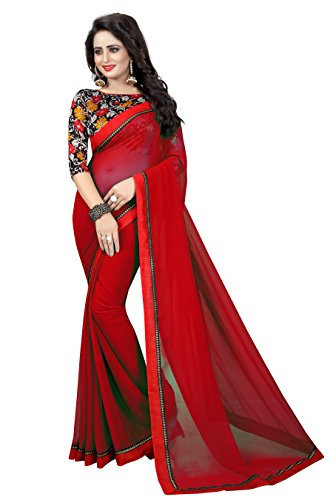 Buy New Red Color Georgette Plain Party Wear Sari For Women