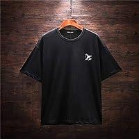 DTX Moda Diseño Simple Camiseta Hombres Simples Cuello Redondo Manga Corta Hombres Y Mujeres Pareja Impresión Suelta, Negro, XXL