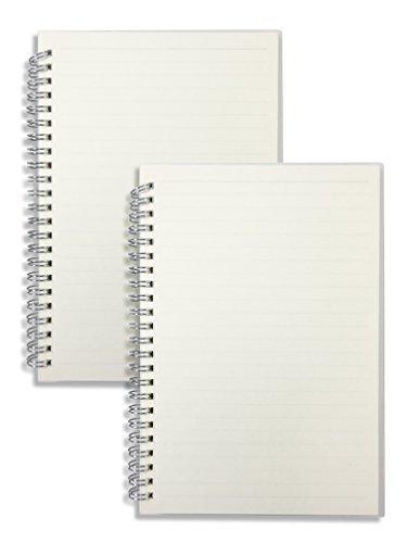miliko transparent Hardcover liniert/Dot Grid/quadratisches Raster A5Größe Drahtkammbindung/Spirale Notebook Pro Pack, 80Blatt/160Seiten Ruled