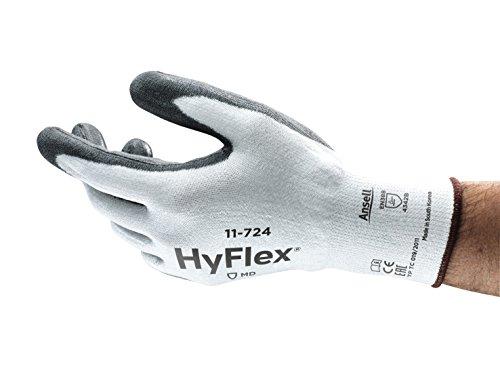Ansell HyFlex 11-724 Gants de protection contre les coupures, protection mécanique, Blanc, Taille 10 (Sachet de 12 paires)