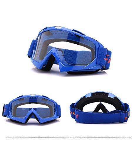 Yiph-Sunglass Sonnenbrillen Mode Neu Motorradhelm Offroad-Set Outdoor Skibrille Harley Brille Sandsicher (Color : Blue+Clear)