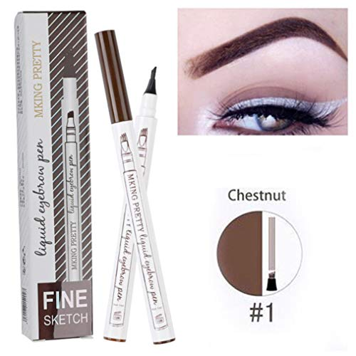 Fork Tip Microblading Eyebrow Tattoo Tint Pen Fine Sketch Liquid Enhancer Pencil Waterproof (A)