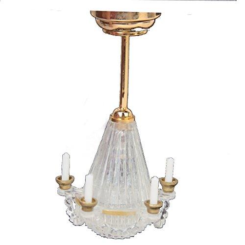 01.12 Puppenhaus Miniaturen Beleuchtung Stehen Fünf Falschen Candle Transparent Kronleuchter LED-golden (Stehen Miniatur)