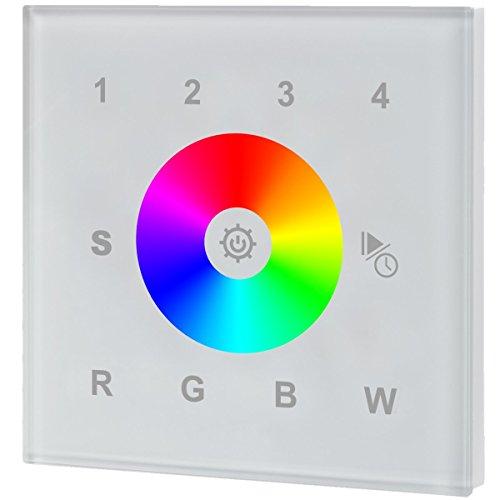 iluminize Touch Wand-Dimmer Funk: für RGB/RGB+W/RGBW LEDs, 1 Zone, 230V Anschluss, Schalterdosen-Installation, KEIN Universal-Gerät: Funk Controller ist erforderlich (1 Zone weiße Glasoberfläche) -