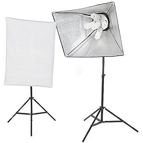 Amzdea Set di studio fotografico professionale 2 x Softbox (50 x 70 cm) con lampade10 x 45W, 2 x 2m stativo in alluminio , 5 x portalampada , 5 x testa lampada e una borsa, normative europee