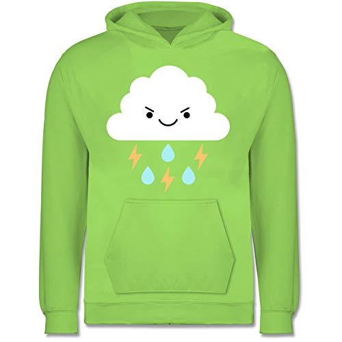 Wolke Regen Kostüm - Shirtracer Karneval & Fasching Kinder - Gewitterwolke Karneval Kostüm - 7-8 Jahre (128) - Limonengrün - JH001K - Kinder Hoodie