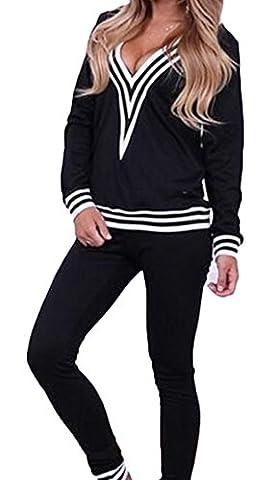 Damen Freizeit Sport Anzüge Tief V Ausschnitt Langarm Anzug Pullover Sport-Anzüge