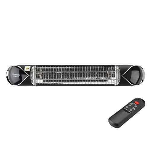 Heat Outdoors Shadow Nirvana Carbon Infrared Patio Heater – 2.0 kW Mounted Stylish Fixed Outdoor Heating Unit – Waterproof Ceiling and Wall Mountable, 4 Settings, Remote Control, Safety Guard