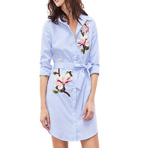 LSAltd Damen gesticktes Blumen Druck Minikleid vertikales gestreiftes langes Hülsen HemdKleid (Blau, S) (Kleider Vertikale)