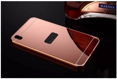 AEMA (TM) Luxury Metal Bumper + Acrylic Mirror Back Cover Case For HTC DESIRE 816 ROSE GOLD