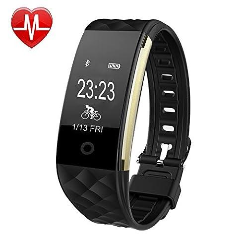 Willful SW328 Fitness Tracker mit Pulsmesser - Wasserdichte Fitness Armband Puls Armband Aktivitätstracker Schrittzähler Uhr mit Schlafmonitor Kalorienzähler Vibrationsalarm Anruf SMS Whatsapp Beachten mit iPhone Android Handy