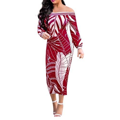Vimoli Kleider Damen Schulter gedruckt MidiKleid trägerloses langes Hülsen-traditionelles Kleid(Rot,De-42/CN-3XL)