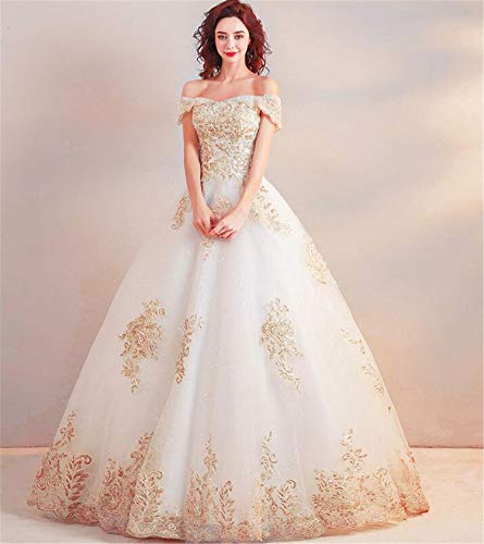 LUCKY-U Hochzeitskleid, elegant und edel europäischen und amerikanischen Stil Luxus Gold...