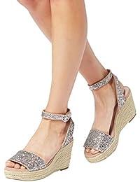 Longfengma - Sandales Avec Femme En Coin, Couleur Beige, Taille 40