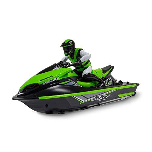 Kidz Tech - Jet Ski Télécommandé Kawasaki - Licence Officielle - Jet Ski RC - Rechargeable - Batterie, Piles et Adaptateur USB Inclus - Couleur Vert - Échelle 1/10