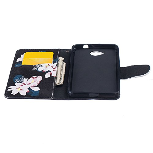Anfire Plume Motif Peint Mode PU Cuir Étui Coque pour Microsoft Lumia 650 (4.7 pouces) Housse de Protection Luxe Style Livre Pochette Étui Folio Rabat Magnétique Coque Couverture pour Nokia Lumia 650  Fleur Blanc