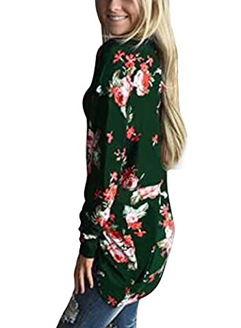 Yidaron Women's Wrap Kimono Cardigans Tops Long Sleeve Casual Cover Up Summer Blouse Outwear (L,