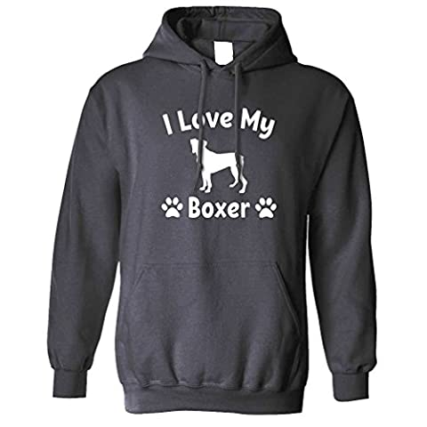 I Love My Boxer Dog Lover Gift Cute Adorable Silouhette Breed Owner Pet Animal Companion Hound Paw Canine Slogan Unisex Hoodie Cool Birthday Gift Present