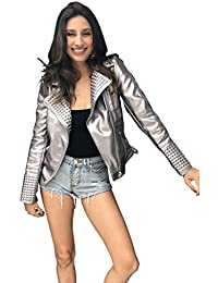 95454da13159 Simplee Apparel Damen Jacke Herbst Winter Cusual PU Leather Zipper Jacke  Glanz Bikerjacke S-XL
