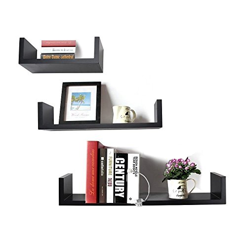DecorNation Floating Wall Shelf - Set of 3 'U' Shape MDF Wall Racks - Black