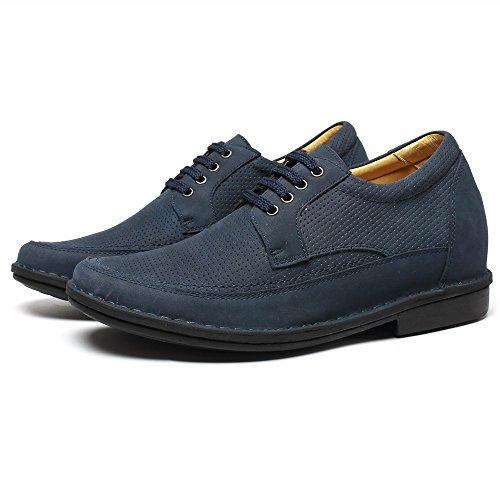 CHAMARIPA-Männer 7 cm / 2,76 Zoll Taller Elevator Schuhe Blau / Schwarz Wildleder Lace ups Heben Schuhe Breathable Casual Sandals -H71X58K032D Blau